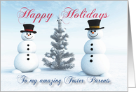 Snowmen and Christmas Tree for Foster Parents card