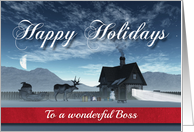 For Boss Christmas Scene with Reindeer Sledge and Cottage card