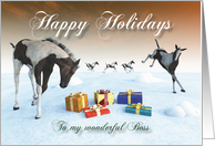 Painted Foal Horse Holidays Snowscene for Boss card