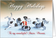 German Pointer Puppies Holidays Snowscene for Foster Parents card