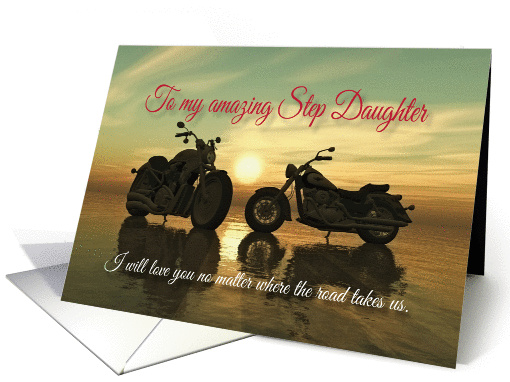 Motorcycles with sunset at sea Valentine for Step Daughter card