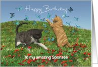 Cats playing with butterflies for Sponsee Birthday card
