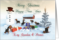 Beagle Puppies Christmas New Year Snowscene Grandson & Partner card