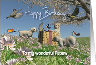 Labrador puppies Birds and Butterflies Birthday Papaw card