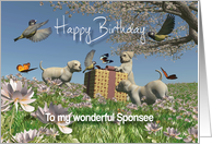 Labrador puppies Birds Butterflies Birthday Sponsee card