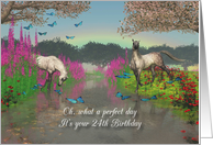 24th Birthday Perfect Day with horses and butterflies card