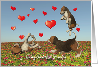 Grandpa Valentine with puppy dogs and hearts card