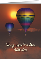 Grandson Fantasy balloons in sunset above the sea Father's Day card