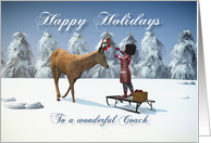 Coach Fantasy girl decorates reindeer with Christmas balls card