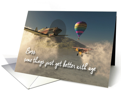 Boss Fantasy Old Airplanes Birthday card (1384068)