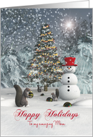 Mom Fantasy Squirrels decorating Christmas tree card