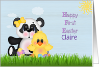 Happy First Easter, Custom Name, Panda and Chick card