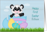 Custom Happy First Easter, Panda and Eggs card
