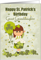 Great Granddaughter, Happy St. Patrick's Day Birthday card