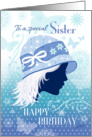 Birthday for Sister - Silhouetted Female Face in Blue Designer Hat card