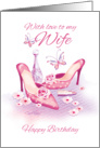 Birthday for Wife - Ladies Pink Shoes with Perfume and lipstick card