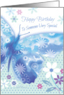 Birthday for Someone Special - Blue Decorative Butterfly with Flowers card