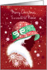 Christmas, Niece - Girl in Trendy Red Hat card