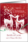Christmas to Both of You. Two white Reindeer kissing. card