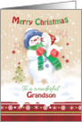 Christmas for Grandson. Cute Snow Child Hugging his Snow Puppy. card