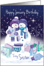 Sister Birthday in January. Two Snow Women Happily Shop in the City. card