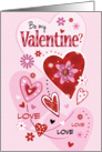 Be My Valentine? - Pink and Red Hearts on Polka Dot card