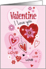 Valentine, I Love You - Pink and Red Hearts on Polka Dot card