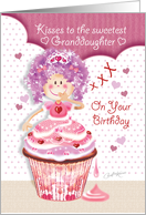 Birthday for Granddaughter - Princess Cupcake Blowing Kisses card