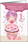 Birthday Princess Age 1 - Princess Cupcake Blowing Kisses card