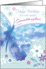 Birthday for Granddaughter - Blue Decorative Butterfly with Flowers card