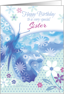 Birthday for Sister - Blue Decorative Butterfly with Flowers card
