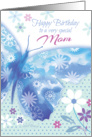 Birthday for Mom - Blue Decorative Butterfly with Flowers card