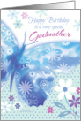 Birthday for Godmother - Blue Decorative Butterfly with Flowers card