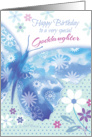 Birthday for Goddaughter - Blue Decorative Butterfly with Flowers card