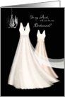 Bridesmaid Request Aunt - 2 Cream Dresses with Chandelier card