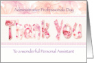 Personal Assistant, Admin Pro Day - Floral Thank You in Pink Tones card