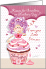 Grandma, Mother's Day From Young Granddaughter - Princess Cupcake card