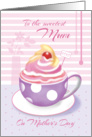Mum on Mother's Day - Lilac Cup of Cupcake card