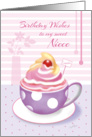 Birthday Sweet Niece - Lilac Cup of Cupcake card