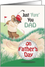 Dad, Father's Day - Golfing Teddy at Bunker card