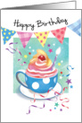 Birthday, General - Cupcake in Cup, Bunting & Streamers card