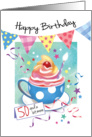 Birthday, 50 Plus - Cupcake in Cup, Bunting & Streamers card