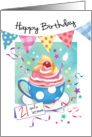 Birthday, 21 Plus - Cupcake in Cup, Bunting & Streamers card