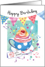 Birthday, 40 Plus - Cupcake in Cup, Bunting & Streamers card