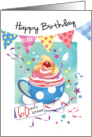 Birthday, 60 Plus - Cupcake in Cup, Bunting & Streamers card