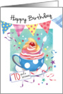 Birthday, 70 Plus - Cupcake in Cup, Bunting & Streamers card