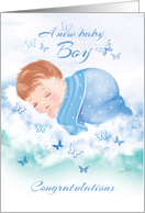 Congratulations, New Baby Boy - Baby Boy Asleep on Clouds card