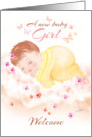 New Baby Girl, Welcome - Baby Girl Asleep on Clouds card