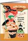 Halloween, Cupcakes - Cute Cupcake Little Witch with Cupcake Cat card