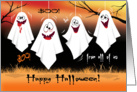 Halloween, From All of Us - 4 Goofy Laughing Ghosts, Hang From Trees card